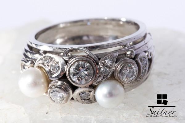 aimposanter Art Deko Ring Weißgold 585 Brillanten und Perlen