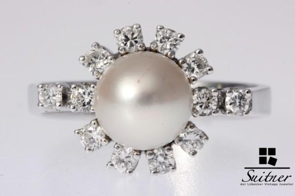 Weißgold 585 Brillant Ring Perlring Akoya-Zuchtperle zus. 0,425 ct. Cocktailring Gr. 55