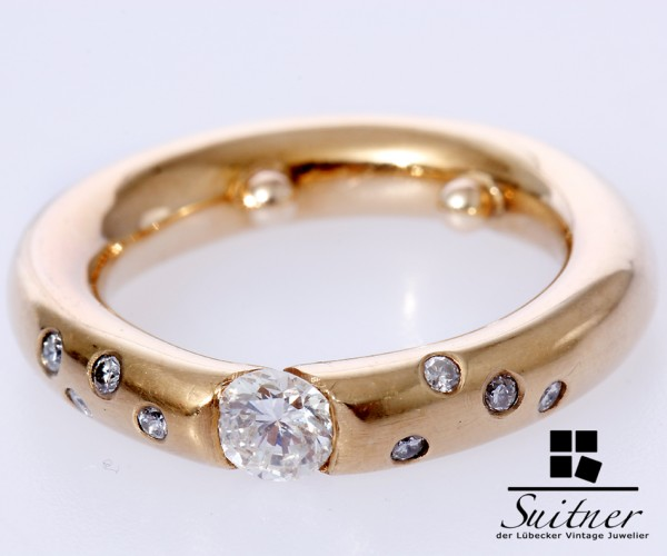 moderner 0,57ct. Spannring Brillant Ring 585 Gold sehr massiv