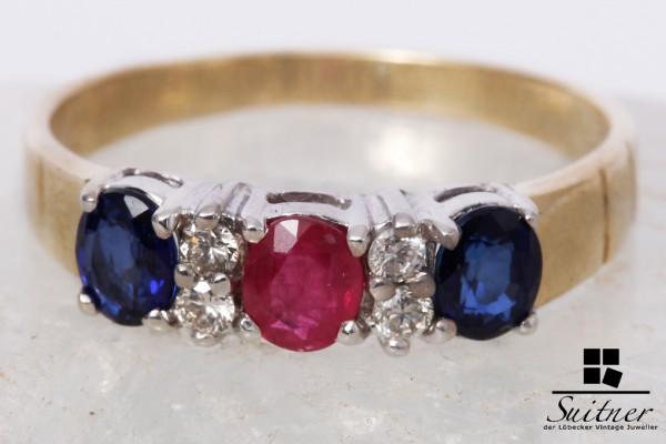 585 Gold Ring Brillanten Rubin Saphir Gr. 53,5