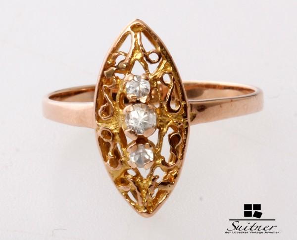 zierlicher Schiffchenring 585 Roségold Ring Gr. 53 3 Steine Rotgold Navette