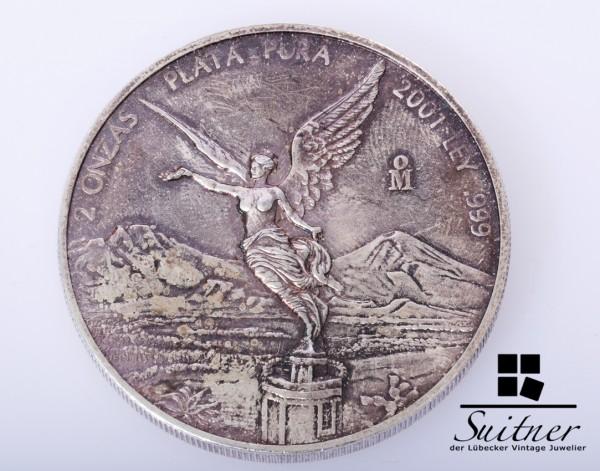 Mexico 2001 2 Unzen Silber VZ Siegesgöttin Plata Ley Doppelunze OZ selten