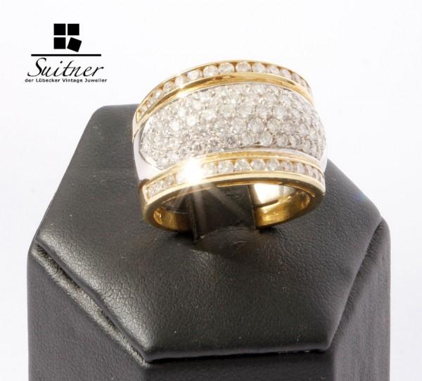 wertvoller 1,93ct Brillantring Lupenrein 101 Brillanten 750 Gold Weißgold Ring TW