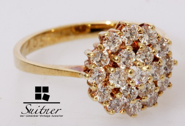 1,05ct Cooktail Ring Brillant 585 Gold VVSI Gr. 55 Schneeflocke