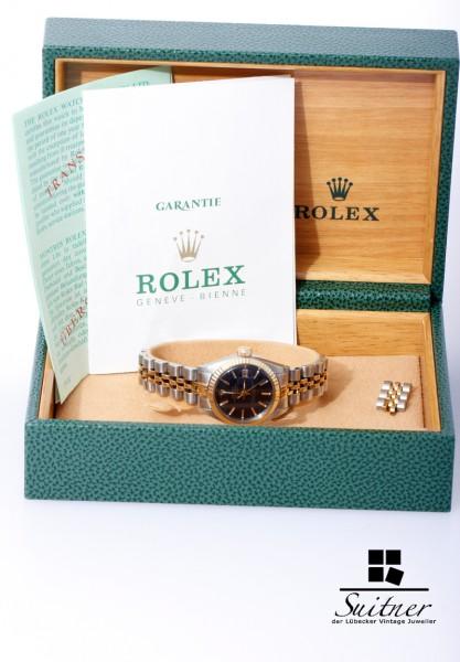 Rolex Datejust Stahl Gold Box Papiere Ersatzglieder 6917 Jubilee Lady 1978 LC100