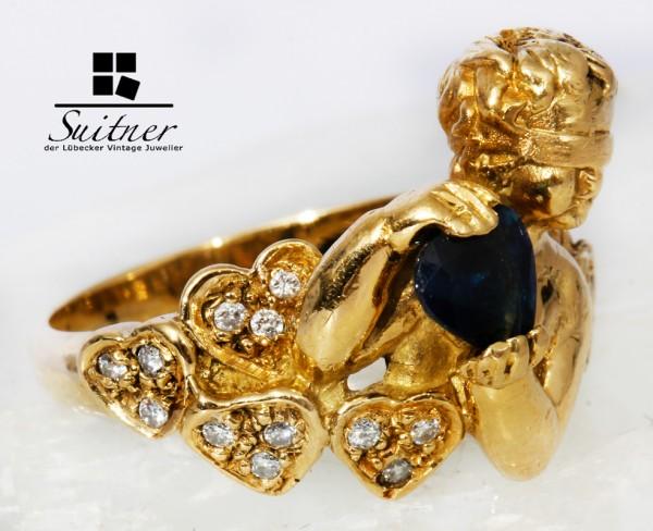 Unikat Ring der Liebe aus 750 Gold mit Amor Herz - Saphir und Brillanten Putto Romantisch
