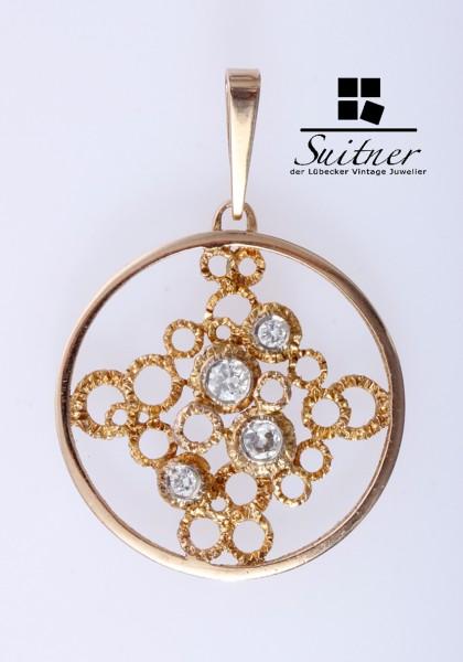 0,45ct. antiker Diamant Anhänger aus Gold Unikat in Handarbeit