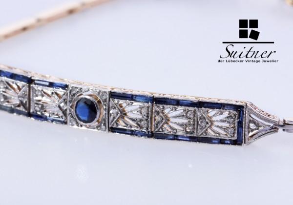 feines Art Deco Armband Saphire Diamanten 750 Gold und Platin