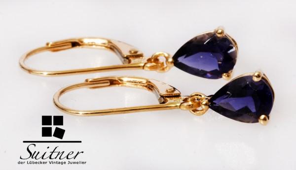 feine klassische Tansanit Ohrhänger 585 Gold Schliff in Tropfenform