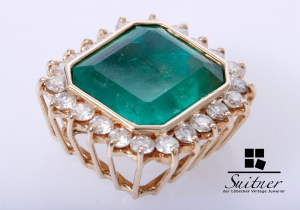 wunderschöner 27 ct. Smaragd Brillant Anhänger 585 Gold - Emerald XL