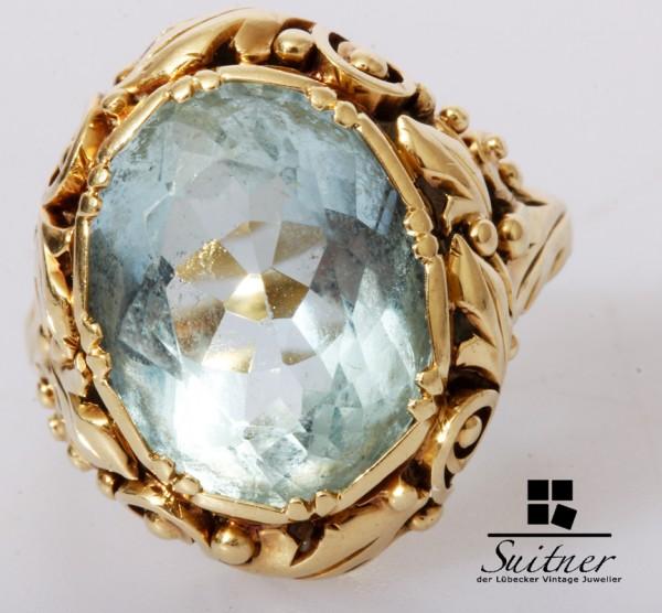 Jugendstil Aquamarin Ring 585 Gold Gr. 53 floral Blumendekor Blau