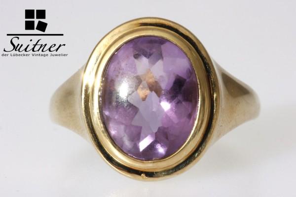 Amethyst Ring 375 Gold moderner Schliff Gr. 59,5