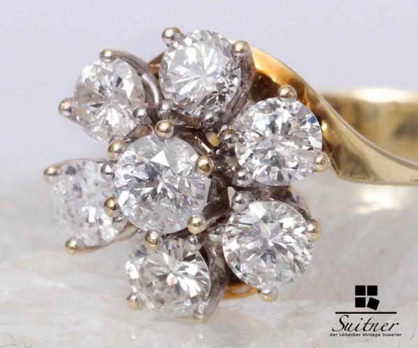Ring 585 Gelbgold 7 große Brillanten zus.ca. 1,65 ct. Gr. 55