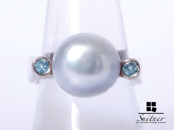 prächtiger Perlen Ring mit blauen Brillanten 585 Weißgold Gr. 59