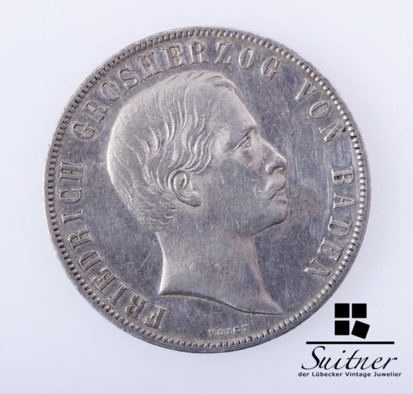 Friedrich Grosherzog von Baden ein Gulden 1857 VZ - sehr selten
