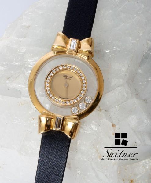 Chopard Happy Diamonds Uhr 750 Gold Schleifen neuwertig Brillanten