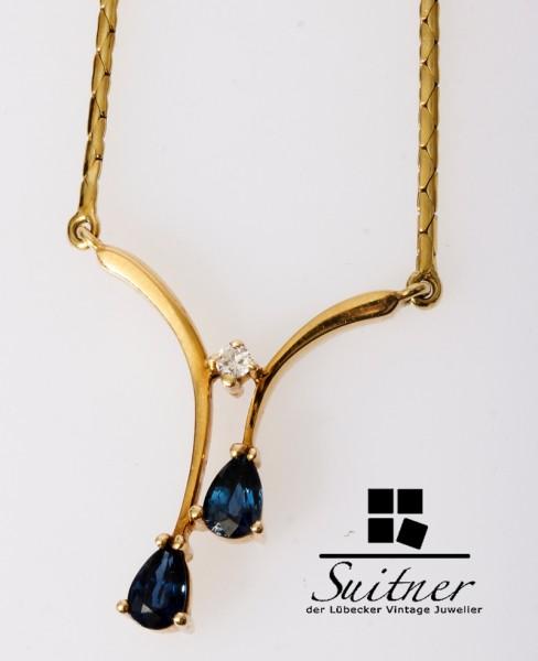 70er Jahre Saphir Collier Diamant 585 Gold Kette Brillanten