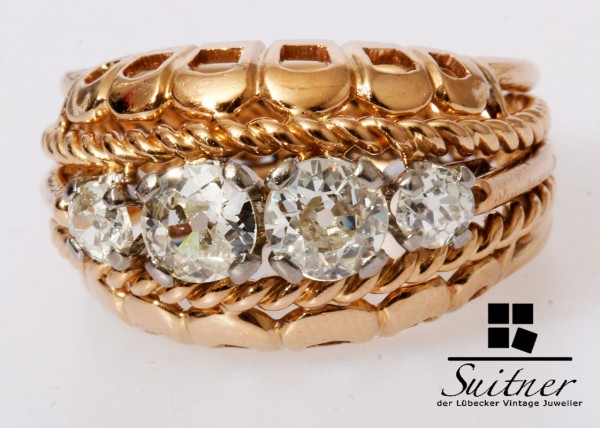 wertvoller antiker 1,20ct. Diamant Ring Altschliff 750 Roségold Gold