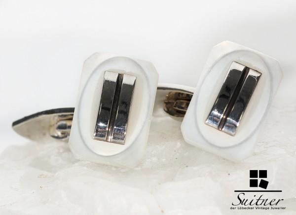 Art Deco Manschettenknöpfe aus 835 Silber mit Perlmutt Einlage