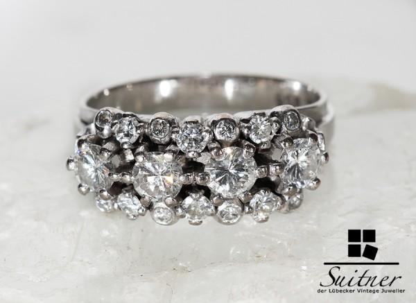 585 Weißgold Brillant Ring zus. ca. 1,40ct. vvsi wertvoller Art Deco Stil