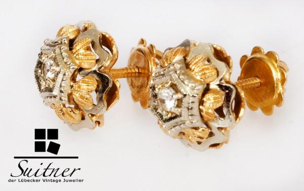 antike Brillant Ohrstecker 750 Gold und Weißgold Wiener Rose Handarbeit