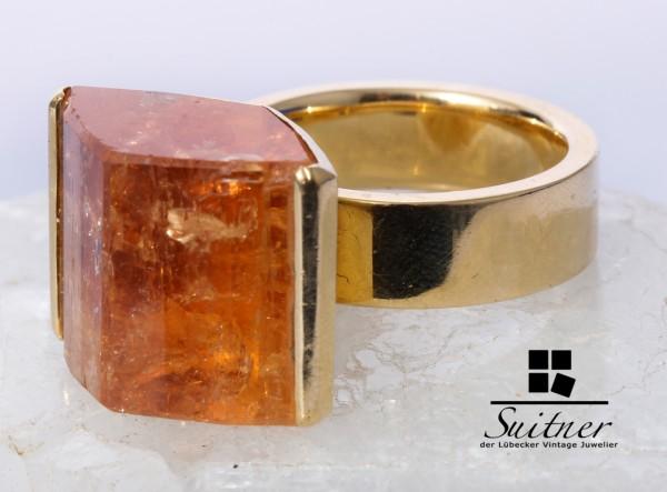 Unikat Design Ring aus massiv 750 Gold mit XL Citrin Drüse - umwerfend