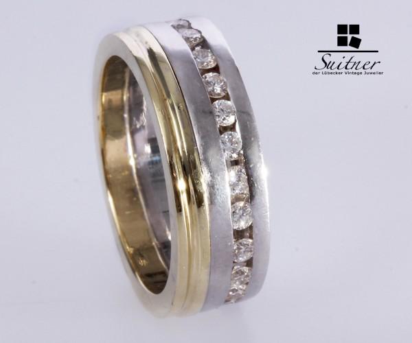 Memoire Ring Gelb- / Weißgold 585 Brillanten zus. über 1,00 c t. Gr. 57