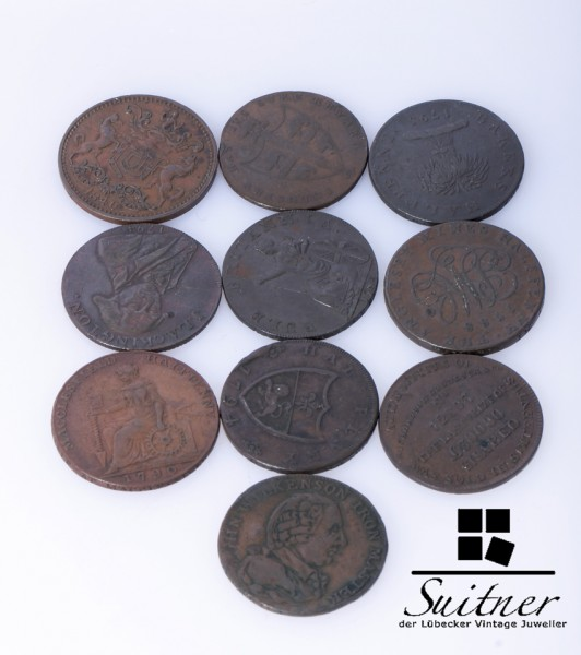 10 alte Englische Münzen 18-19 Jahrhundert