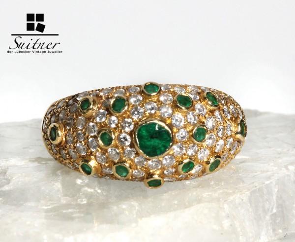 orientalischer Smaragd und Brillanten Ring