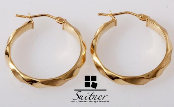 große Design Kreolen aus Gold - kantiges Kordeldesign Ohrringe