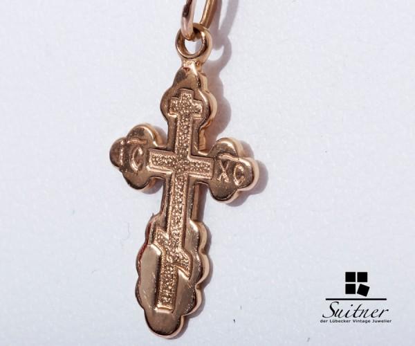 Roségold Kette Kreuz Anhänger 585 Gold Kruzifix Rosé Russland
