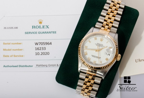 Rolex Datejust Stahl Gold Ref. 16233 weißes Zifferblatt neue Revision Bj 1995