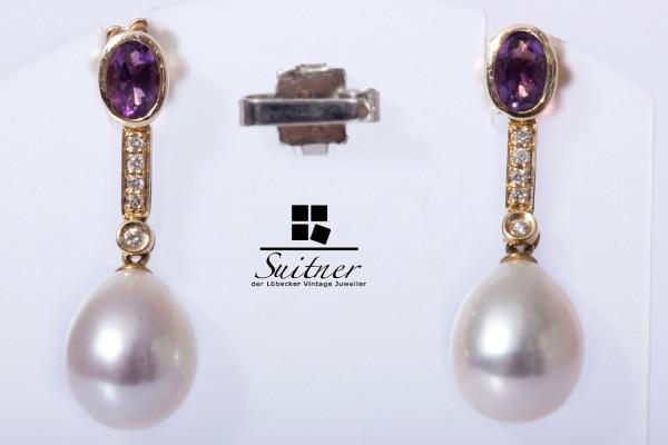 Süßwasserzuchtperlen Ohrhänger mit Brillanten und Amethyst aus Gold