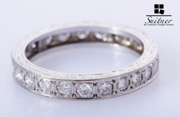 wertvoller Memoire Ring Brillanten TW / VVS 585 Weißgold Gr. 54 Expertise