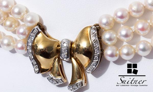 Wempe 3-reihiges Collier Perlen Kette 750 Gold Brillanten 40cm