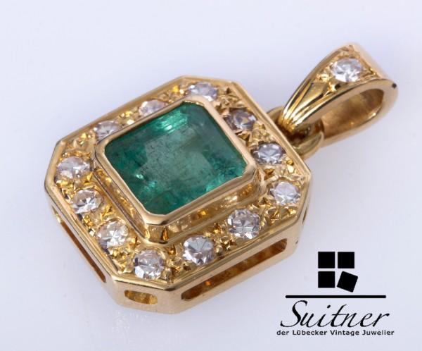 feiner Smaragd Diamant Anhänger aus 750 Gold feinster Steinbesatz