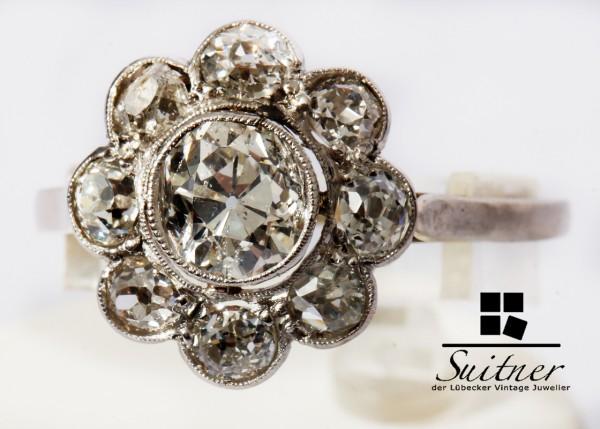 antiker 1,87ct. Diamanten Ring aus 585 Weißgold um 1900 Gr. 58 Blüte