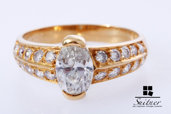 Ring Diamant gut 1,00 ct. Marquise Schliff 585 Gold Gr. 56