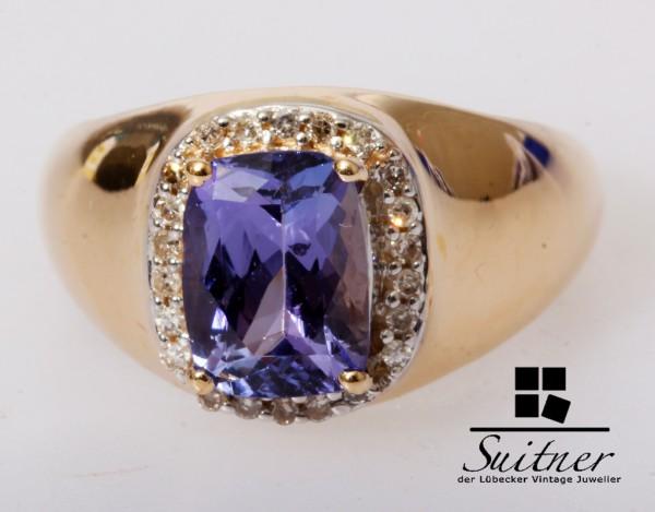Harry Ivens Tansanit Ring mit Diamanten 585 Gold Gr. 51 IV TV