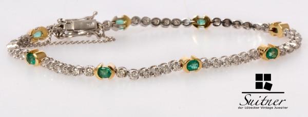 2,83ct. Tennisarmband Smaragd Brillant Armband 750 Weißgold / Gold Luxus