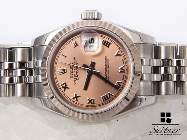 neue Rolex Lady Datejust Stahlt Weißgold Rosé Zifferblatt 179174 Box Papiere Set