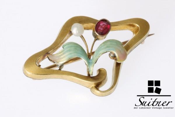 Jugendstil Brosche mit Emaille Perle und Granat 333 Gold