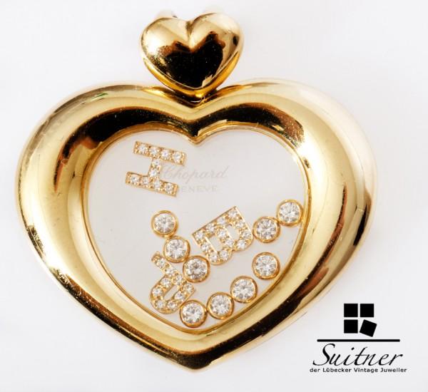 großer Chopard Happy Diamonds Anhänger Herz mit Brillanten 750 Gold