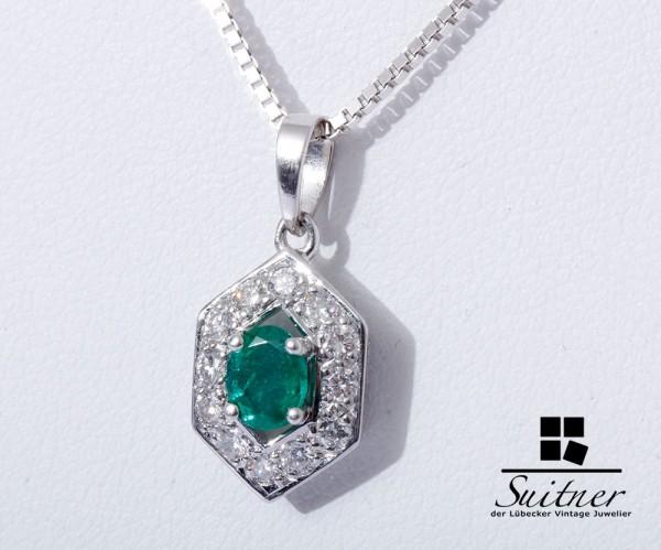 Art Deco Smaragd Kette 12 Brillanten 750 Weißgold Collier Emerald