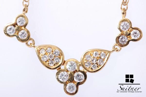 prachtvolle Kette Collier mit Brillanten zus. ca. 0,57 ct. 750 Gold XL floral