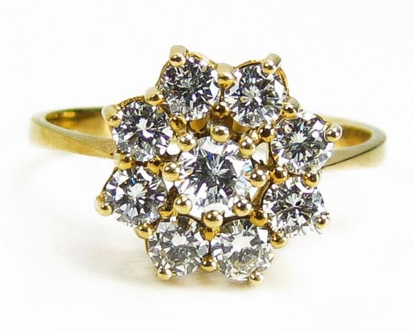 Üppiger Brillant Ring zus. 1,00 ct. 585 Gold gr. 60 Wertgutachten 1700,-