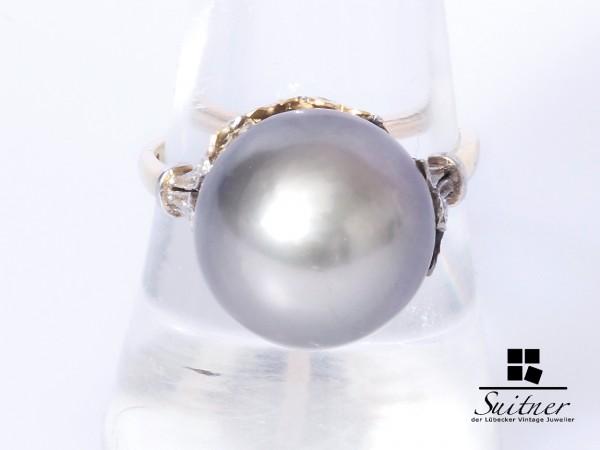 Ring mit großer 14 mm Tahiti-Perle Antik 585 Gold Gr. 56