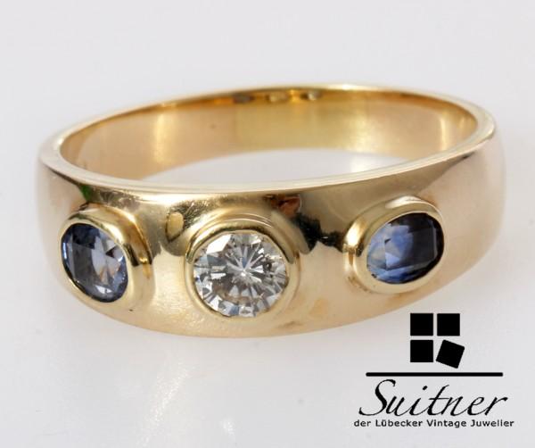großer 3 Steine Ring Brillant Saphir 585 Gold Gr. 62 Wasserblau Unikat