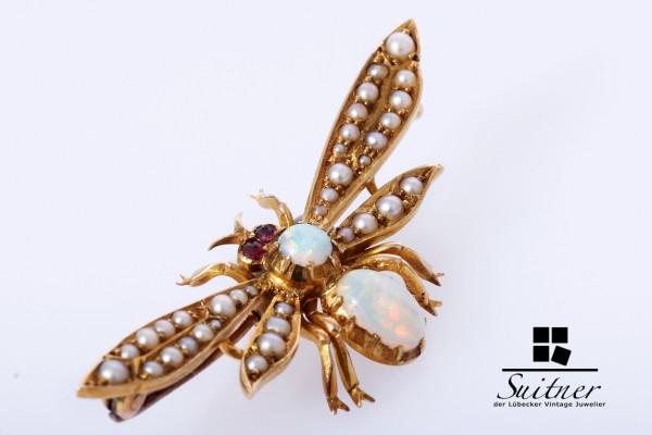 Art Nouveau Brosche England 15ct Gold Wespe Biene Opal Rubine Saatperlen