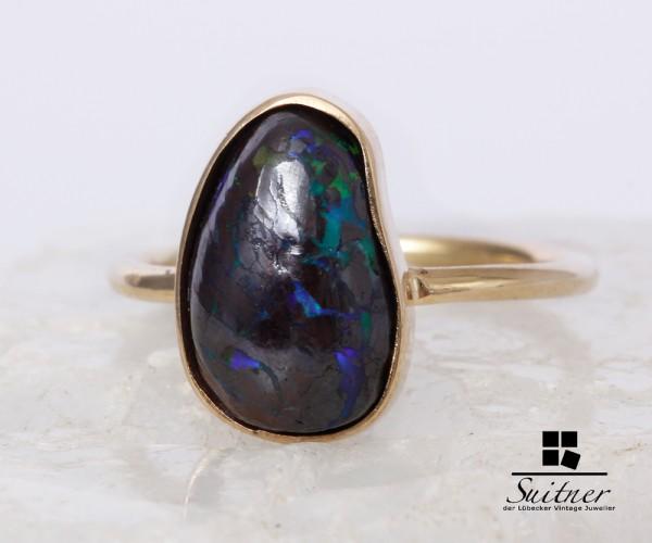 hochwertiger Ring aus 585 Gold mit tollem Boulder Opal Gr. 53